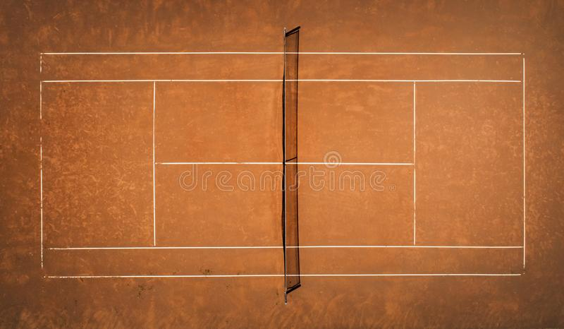 Corte de argila do tênis Vista do voo do ` s do pássaro fotografia de stock royalty free