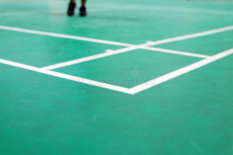 corte de badminton com o jogador no jogo imagem de stock