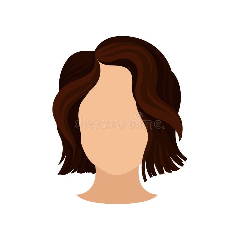 Corte de cabelo à moda das mulheres s Cabeça fêmea com cabelo marrom ondulado curto Corte de cabelo na moda Elemento liso do veto ilustração do vetor