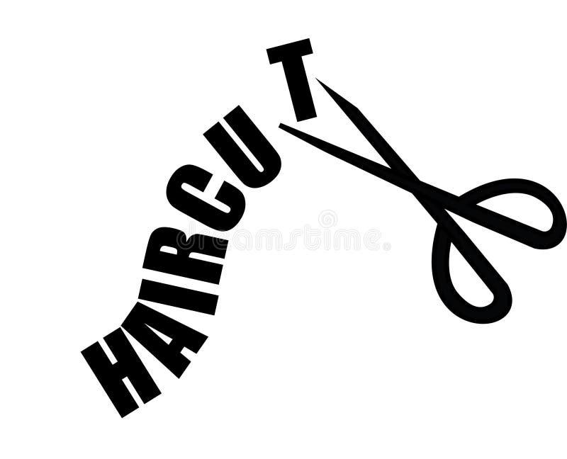 Corte de cabelo da palavra que está sendo cortado com ícone das tesouras imagens de stock royalty free