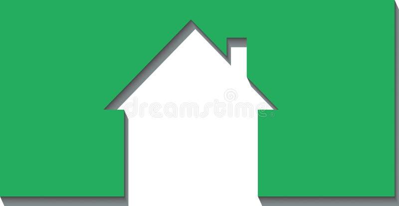 corte de la casa 3d del papel stock de ilustración