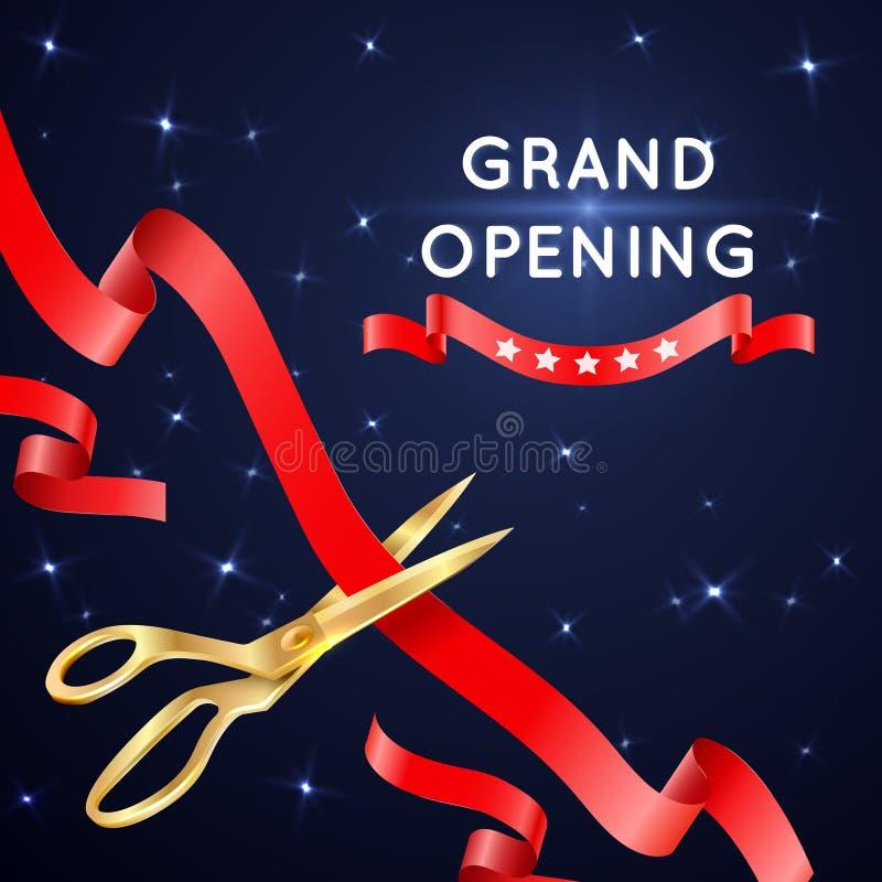Corte de la cinta con el cartel del vector de la gran inauguración de las tijeras libre illustration