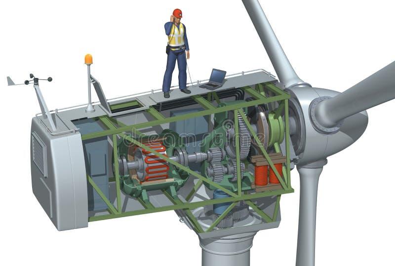 Corte de la turbina de viento stock de ilustración