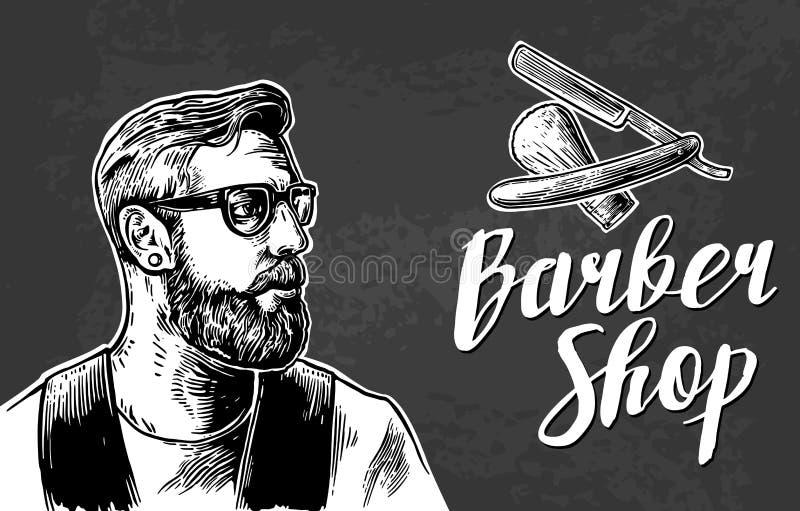 Corte de pelo del afeitado del inconformista en la barbería libre illustration