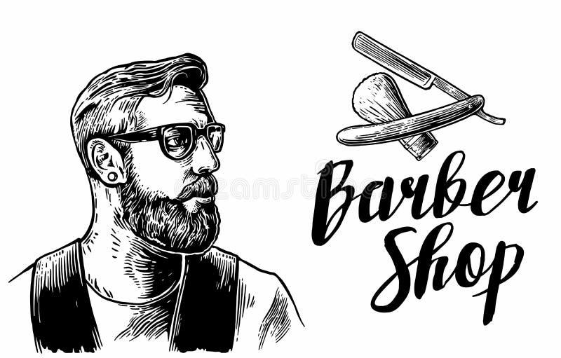 Corte de pelo del afeitado del inconformista en la barbería Ejemplos del vector y elementos blancos y negros de la tipografía Man stock de ilustración