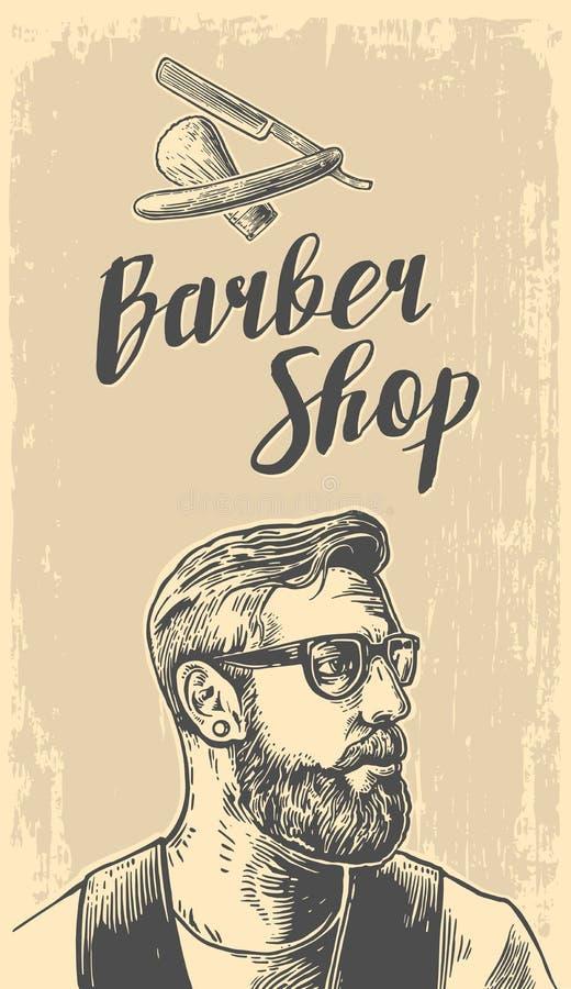 Corte de pelo del afeitado del inconformista en la barbería Ejemplos del vector y elementos blancos y negros de la tipografía Man ilustración del vector