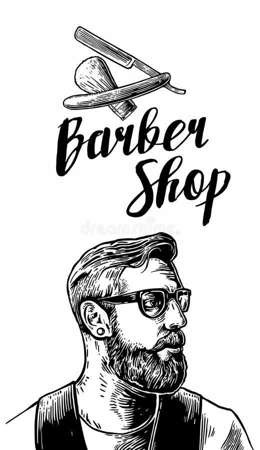 Corte de pelo del afeitado del inconformista en la barbería Ejemplos del vector y elementos blancos y negros de la tipografía Man libre illustration