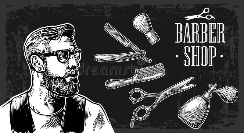 Corte de pelo del afeitado del inconformista en la barbería Ejemplos del vector y elementos blancos y negros de la tipografía ilustración del vector