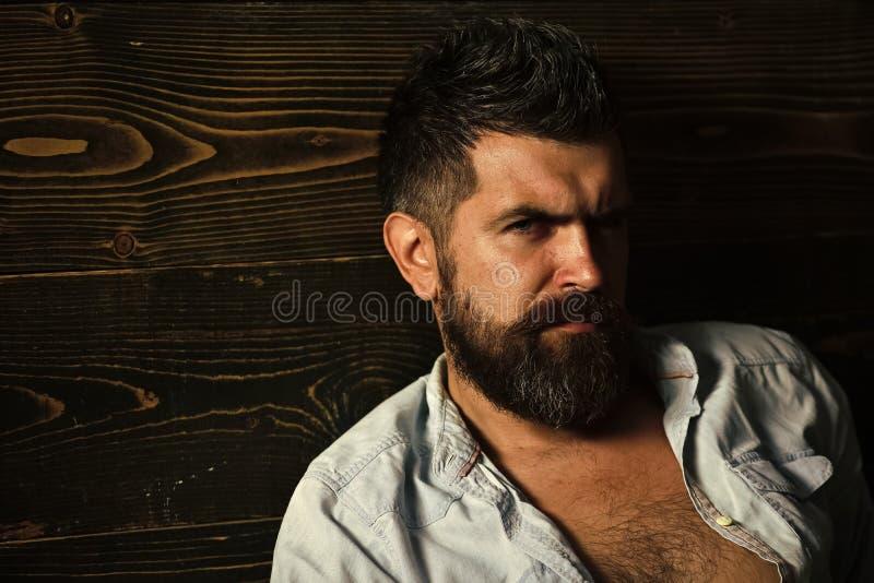 Corte de pelo del hombre barbudo, arcaísmo Salón del peluquero y del peluquero Moda y belleza del varón del hombre graying Hombre imágenes de archivo libres de regalías