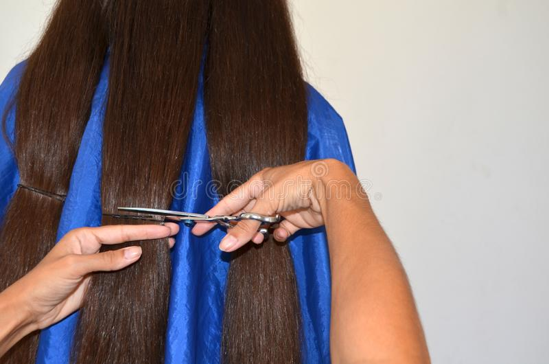 Corte de pelo en el pelo realmente largo imagen de archivo