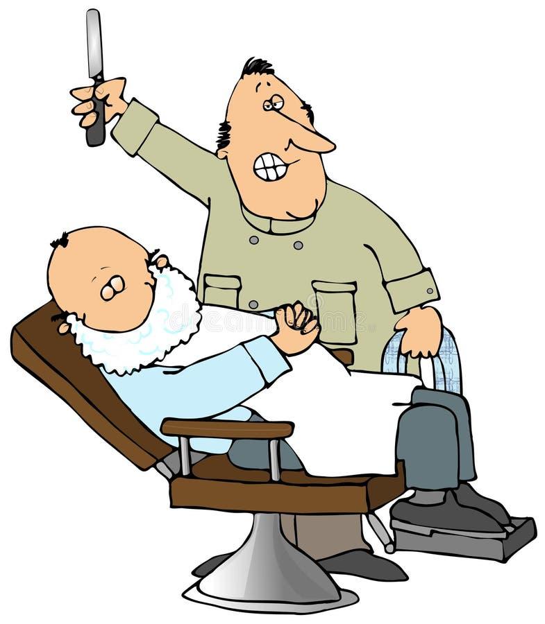 Corte de pelo y un afeitado stock de ilustración