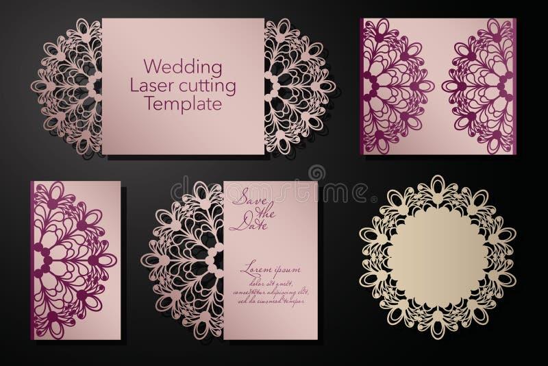 Corte de um envelope do casamento, cartão do laser, convite Ornamento radial Vetor ilustração do vetor