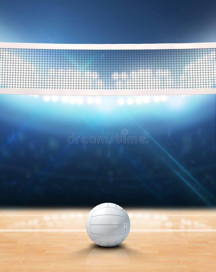 Corte de voleibol iluminada con focos interior ilustración del vector