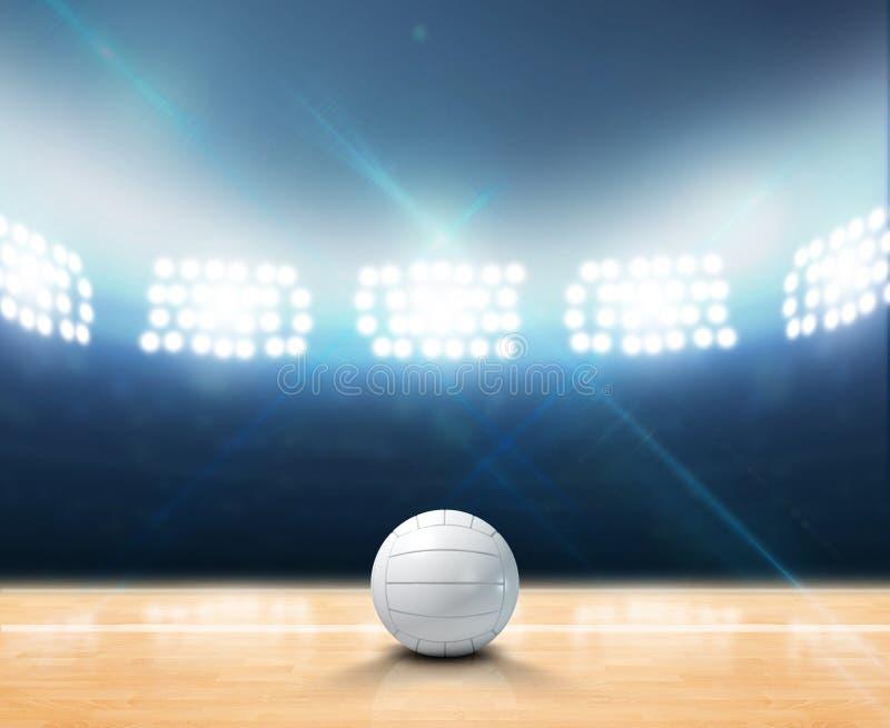 Corte de voleibol iluminada con focos interior stock de ilustración