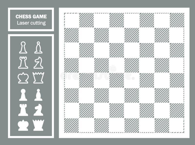 Corte decorativo del laser del juego de ajedrez Ornamento geométrico Pedazos del tablero de ajedrez y de ajedrez Rey negro ilustración del vector