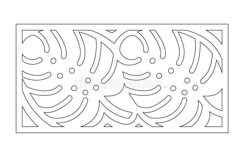 Corte decorativo do laser do painel Painel de madeira Teste padrão moderno elegante do monstera Licença da árvore estêncil 1:2 da ilustração stock