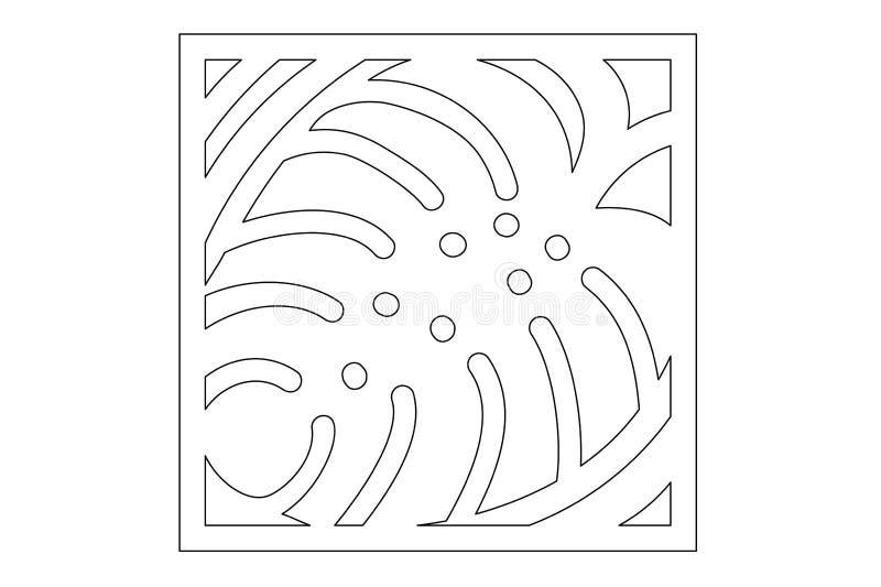 Corte decorativo do laser do painel Painel de madeira Teste padrão moderno elegante do monstera Licença da árvore estêncil 1:1 da ilustração do vetor
