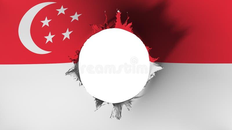 Corte del agujero en la bandera de Singapur ilustración del vector