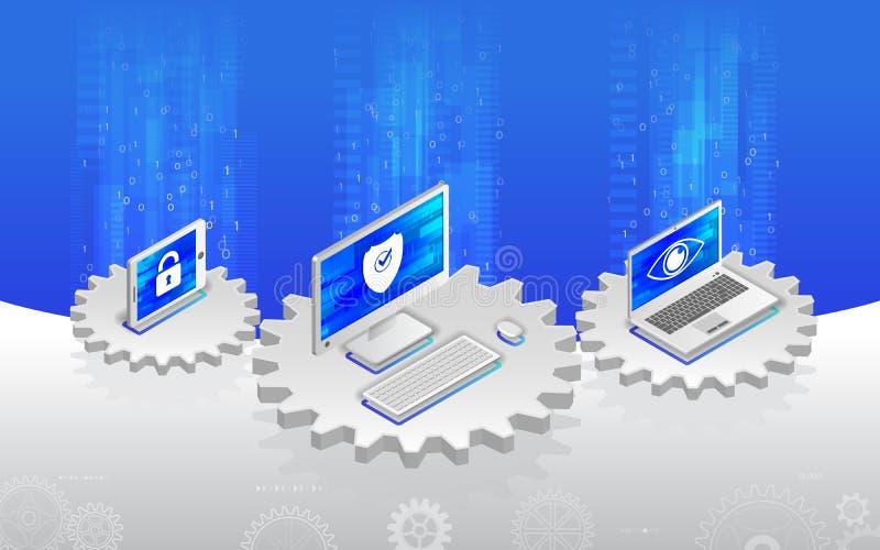 Corte del antivirus de la protección de la intimidad Illustratio isométrico plano 3d stock de ilustración