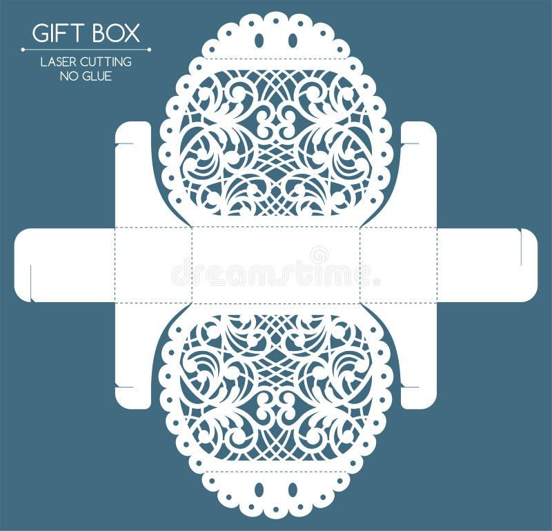 Corte del laser de la caja de regalo ilustración del vector