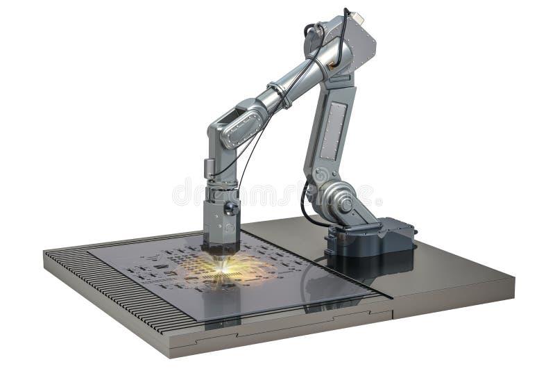 Corte del laser de la hoja de metal por el brazo robótico, representación 3D stock de ilustración