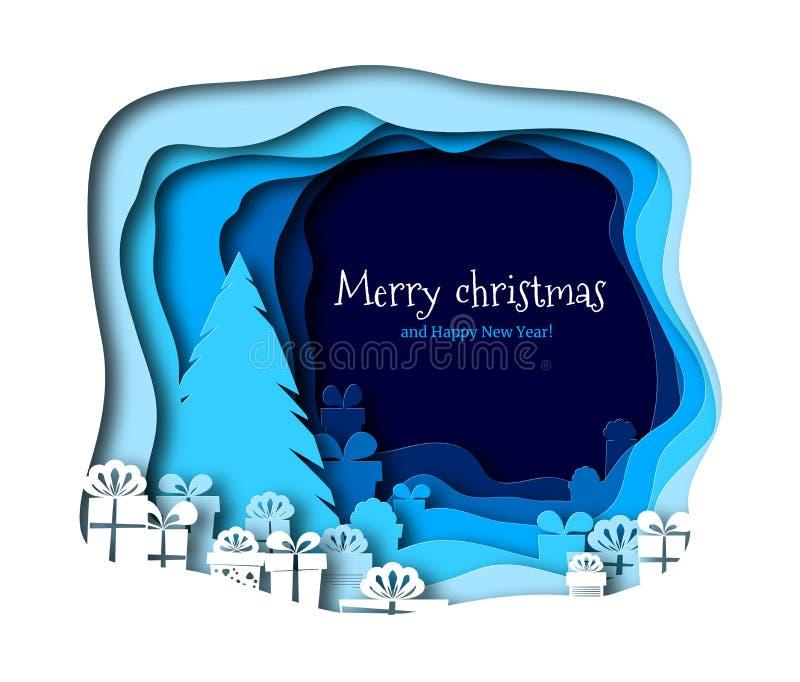 Corte del papel de Feliz Navidad con vector del árbol Alrededor del abeto son los regalos adornados con las cintas Decorativo de  ilustración del vector