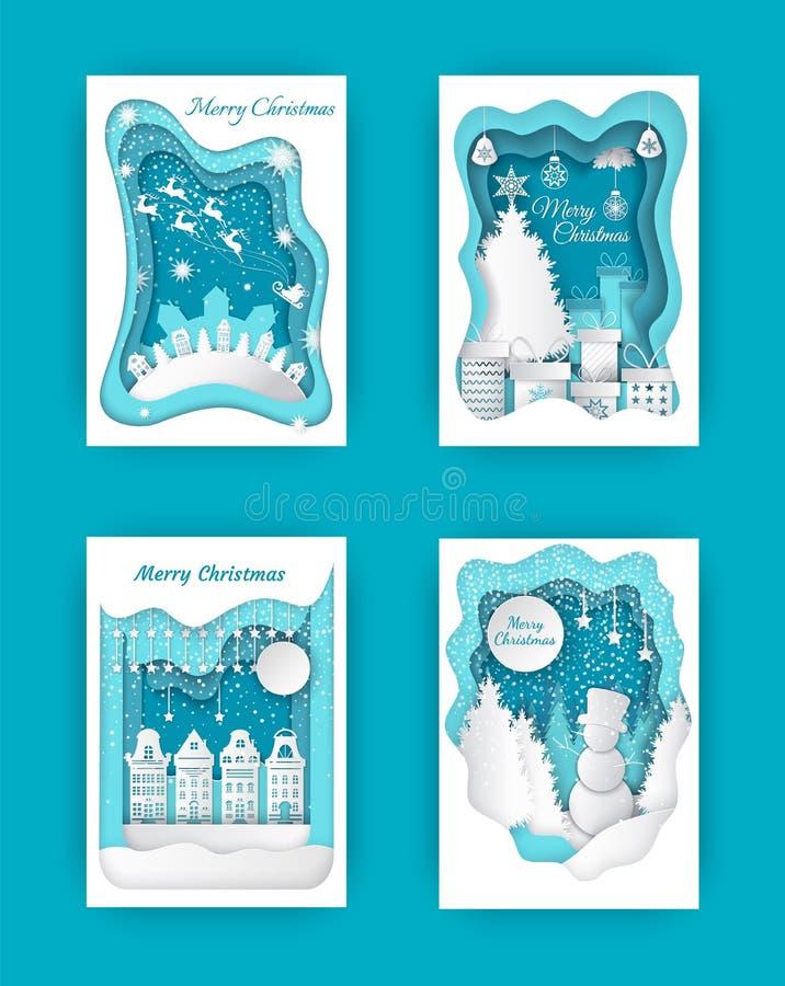 Corte del papel de Feliz Navidad, muñeco de nieve y madera de pino stock de ilustración