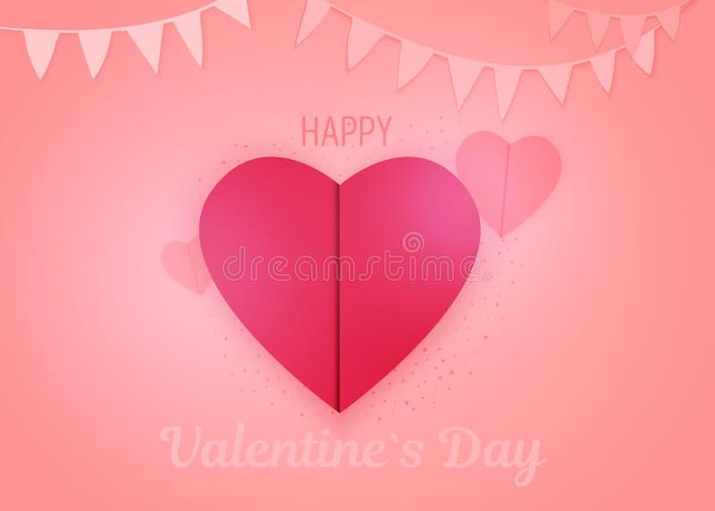 Corte del papel de la tarjeta del día de San Valentín Diseño de concepto de la papiroflexia Estilo del arte de papel Corazón rojo ilustración del vector