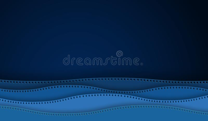 Corte del papel de la tira de la película del cine de la onda aislado en fondo azul cámara de 35 milímetros diapositive para el c libre illustration