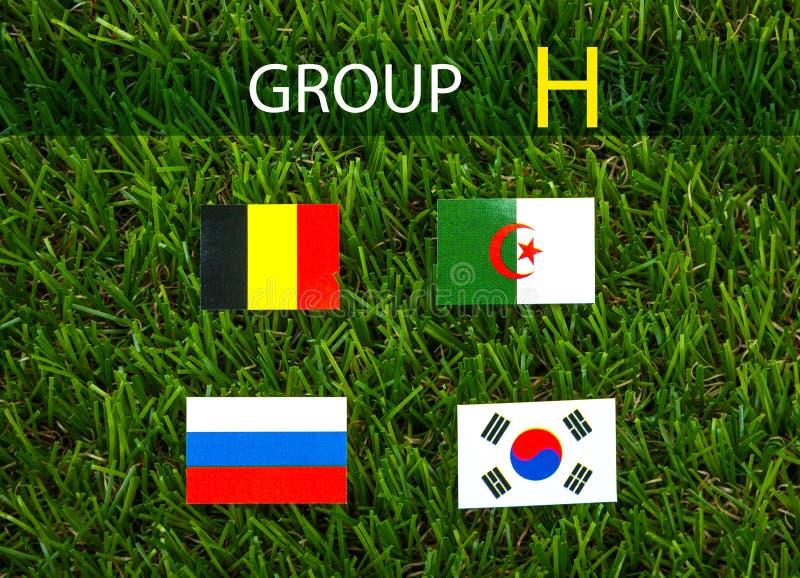 Corte del papel de las banderas para el campeonato 2014, grupo H del fútbol foto de archivo
