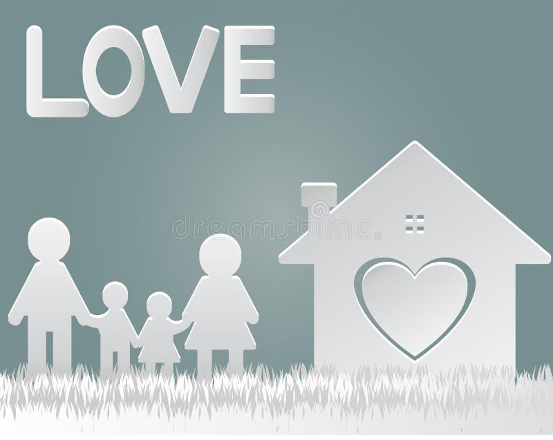 corte del papel Mamá feliz de la familia en casa y mano derecha del papá stock de ilustración