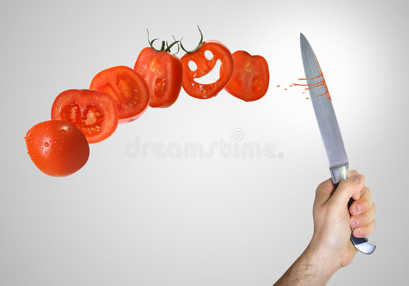 Corte del tomate foto de archivo