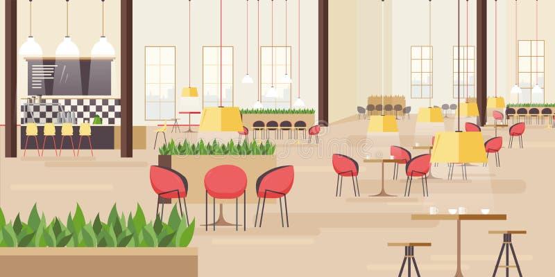 Corte di alimento nel centro commerciale Illustrazione orizzontale di vettore con molti sedili Illustrazione piana di vettore royalty illustrazione gratis