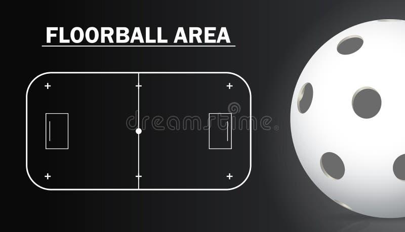 Corte di Floorball e dettagli realistici della palla del floorball Fondo di sport illustrazione vettoriale