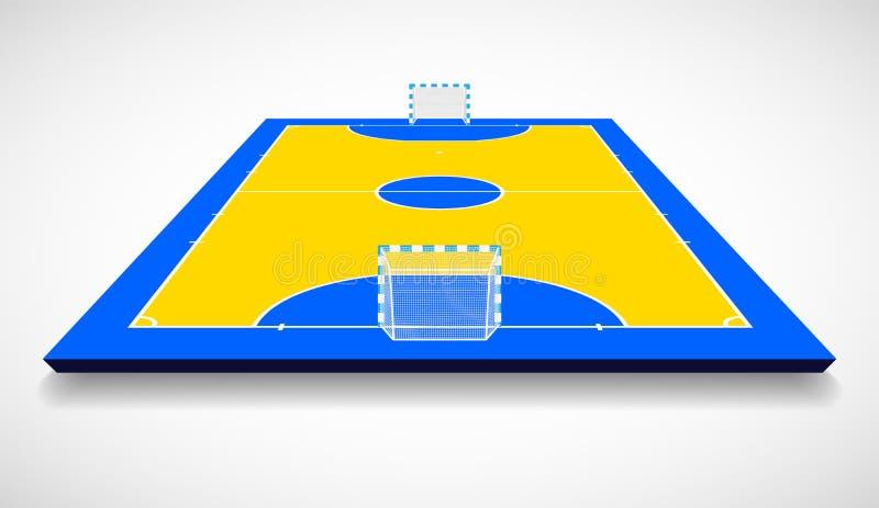 Corte di Futsal o illustrazione di vettore di vista di prospettiva del campo royalty illustrazione gratis