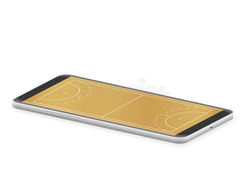 Corte di pallamano dello Smart Phone illustrazione vettoriale