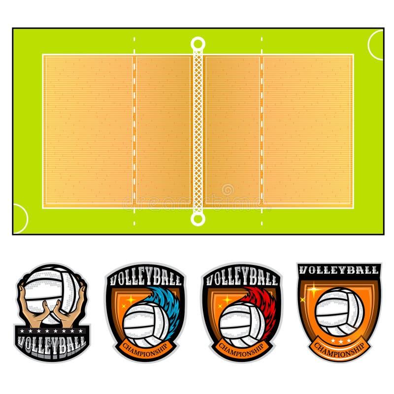 Corte di pallavolo e quattro etichette del gruppo con la palla Illustrazione di vettore isolata royalty illustrazione gratis