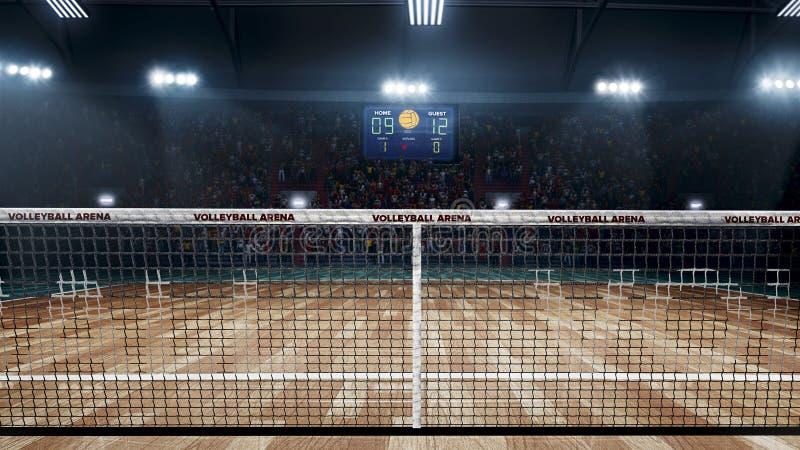 Corte di pallavolo professionale vuota alle luci fotografia stock libera da diritti