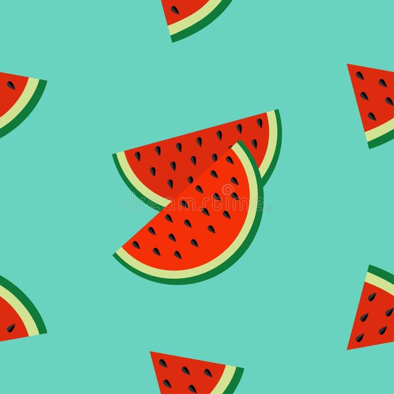 Corte do ícone da fatia da melancia com corte do fruto do triângulo da semente Olá! fundo sem emenda do verde do teste padrão do  ilustração stock