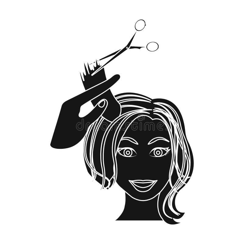 Corte do cabelo com tesouras Ícone do corte de cabelo das mulheres único no preto ilustração stock
