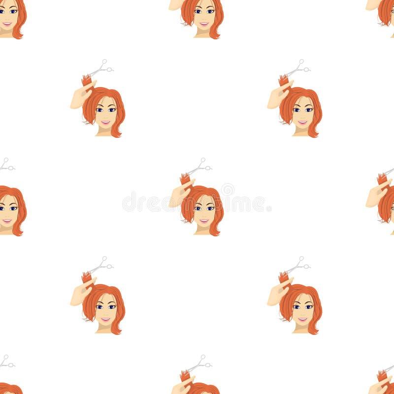 Corte do cabelo com tesouras ilustração stock