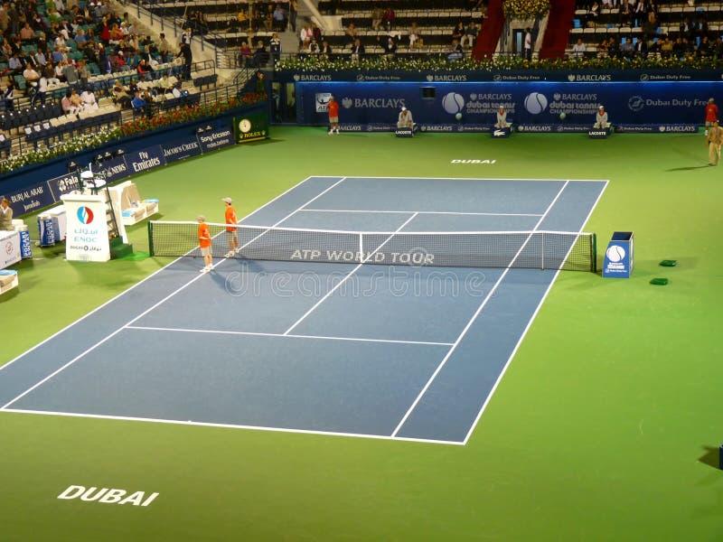 Corte do centro do estádio do tênis de Dubai fotos de stock