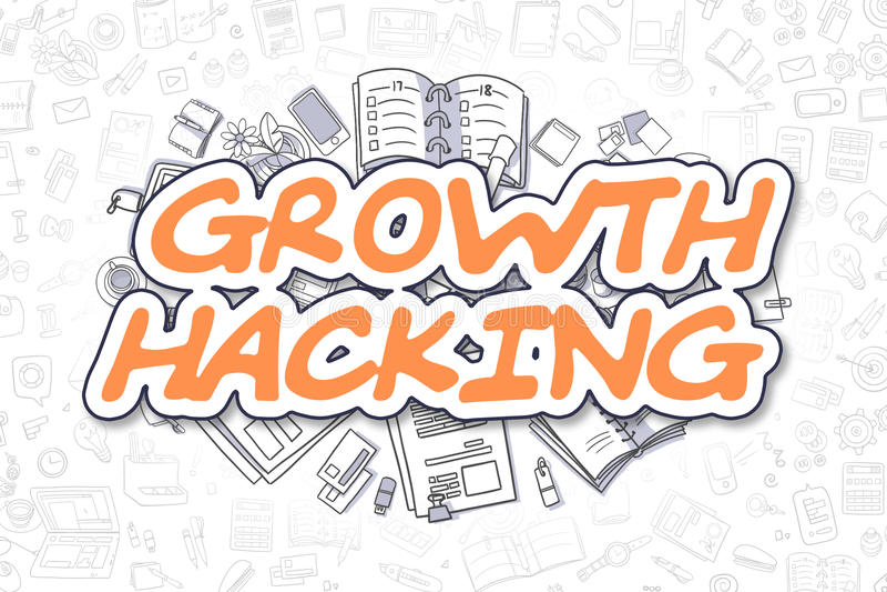 Corte do crescimento - texto da laranja dos desenhos animados Conceito do negócio ilustração stock