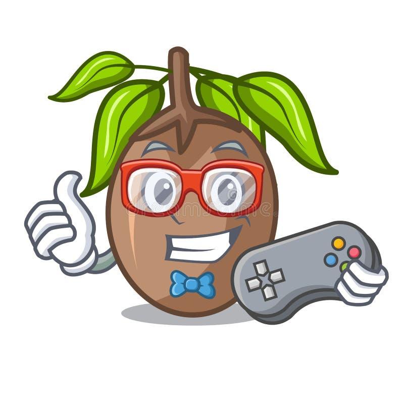 Corte do fruto do sapodilla do Gamer em desenhos animados da forma ilustração do vetor