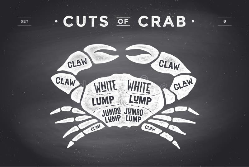 Corte do grupo da carne Diagrama do carniceiro do cartaz e esquema - caranguejo ilustração stock