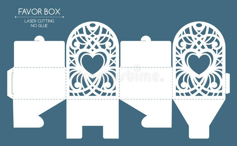 Corte do laser da caixa do favor ilustração stock