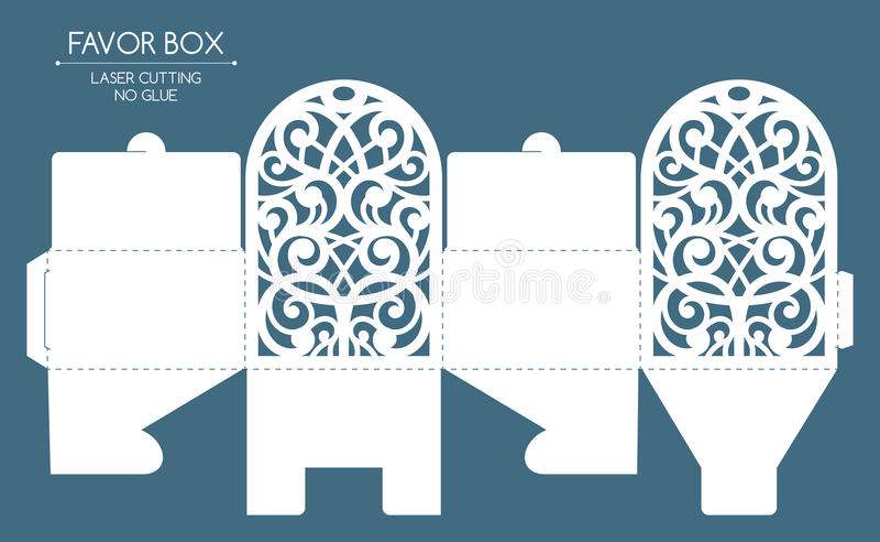 Corte do laser da caixa do favor ilustração royalty free