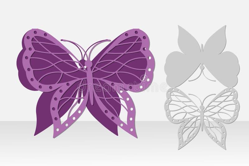 Corte do laser do cartão da borboleta Projeto da silhueta ilustração stock