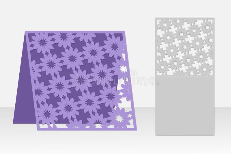 Corte do laser do cartão Projeto da silhueta Teste padrão ilustração stock