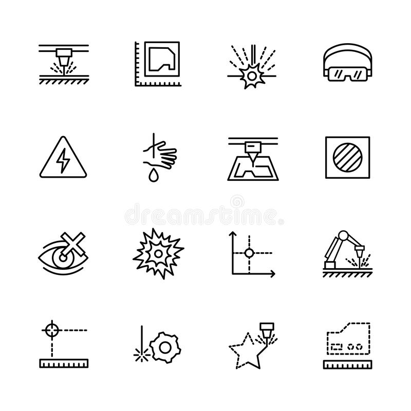 Corte do laser do grupo do ícone e processamento simples do metal Contém tais símbolos máquina industrial, equipamento, industria ilustração do vetor